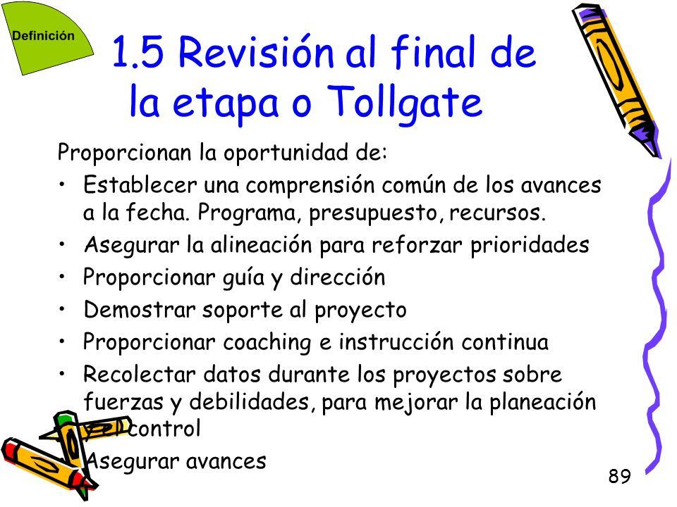 89 1.5 Revisión al final de la etapa o Tollgate Proporcionan la oportunidad de: Establecer una comprensión común de los avances a la fecha. Programa,