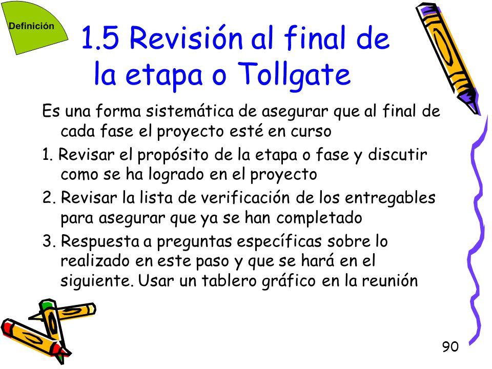 90 1.5 Revisión al final de la etapa o Tollgate Es una forma sistemática de asegurar que al final de cada fase el proyecto esté en curso 1. Revisar el
