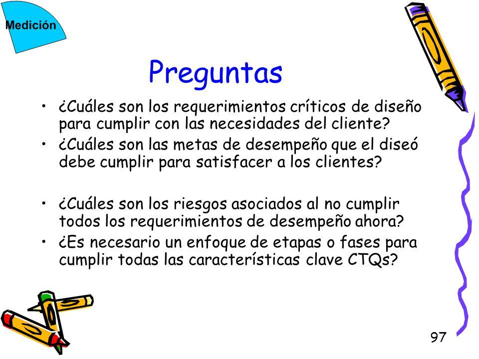 97 Preguntas ¿Cuáles son los requerimientos críticos de diseño para cumplir con las necesidades del cliente? ¿Cuáles son las metas de desempeño que el