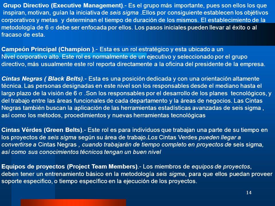 14 Grupo Directivo (Executive Management).- Es el grupo más importante, pues son ellos los que inspiran, motivan, guían la iniciativa de seis sigma.El