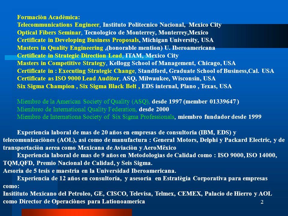 2 Formaciòn Acadèmica: Telecommunications Engineer, Instituto Politecnico Nacional, Mexico City Optical Fibers Seminar, Tecnologico de Monterrey, Mont