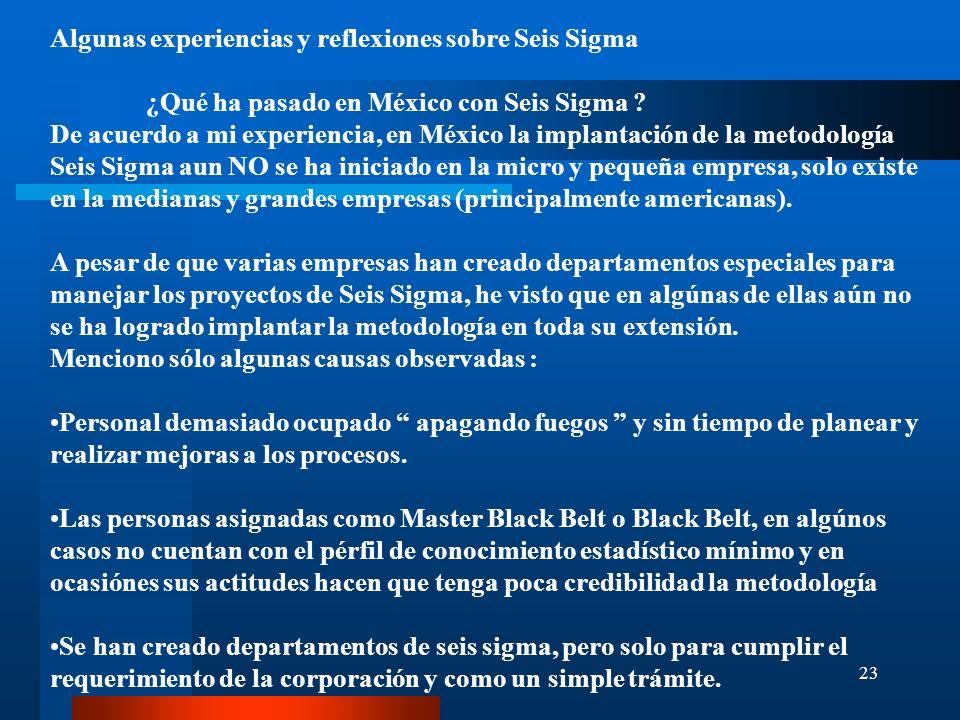 23 Algunas experiencias y reflexiones sobre Seis Sigma ¿Qué ha pasado en México con Seis Sigma ? De acuerdo a mi experiencia, en México la implantació