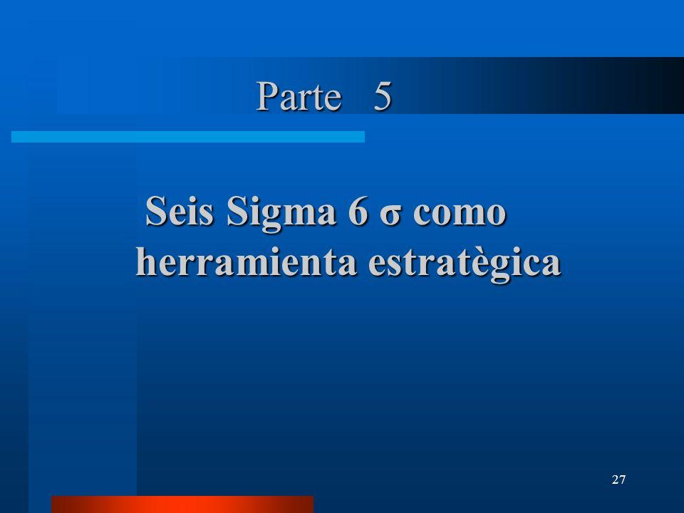 27 Parte 5 SeisSigma 6 σ como Seis Sigma 6 σ como herramienta estratègica herramienta estratègica