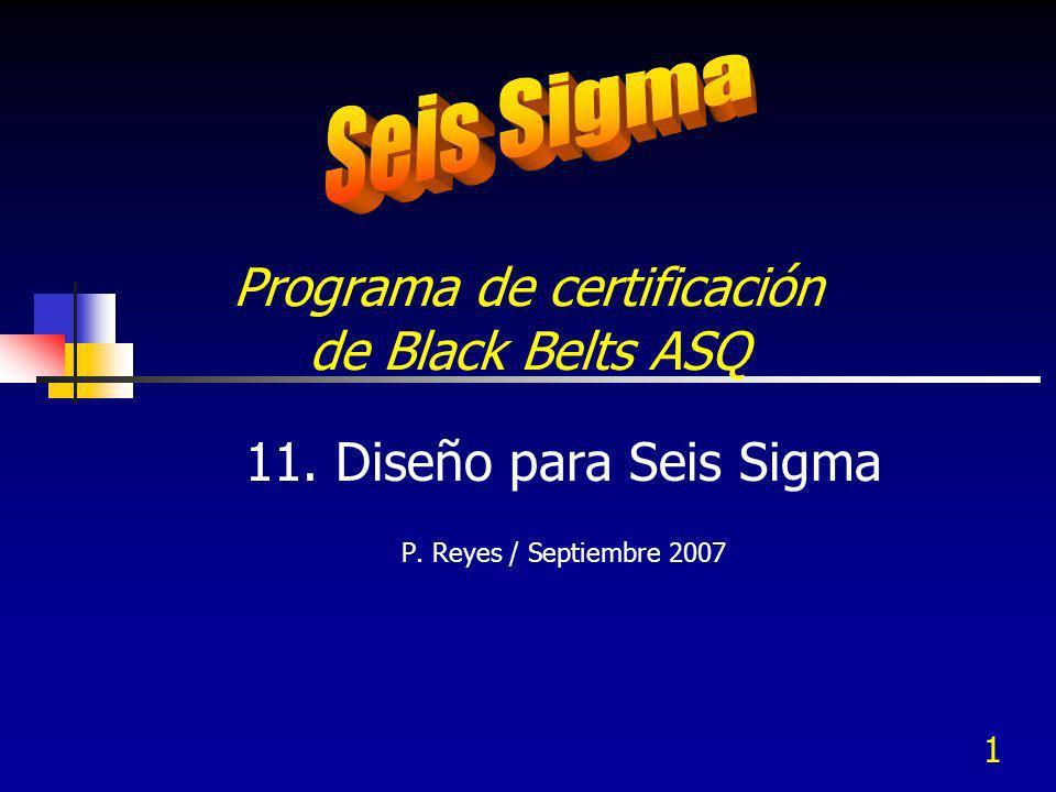 1 Programa de certificación de Black Belts ASQ 11. Diseño para Seis Sigma P. Reyes / Septiembre 2007