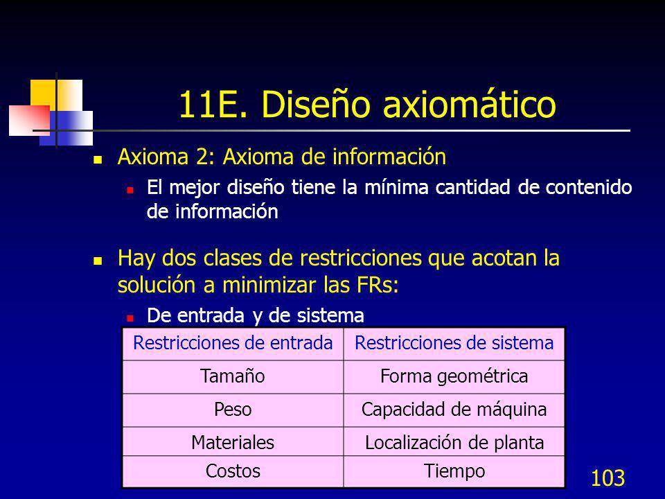 103 11E. Diseño axiomático Axioma 2: Axioma de información El mejor diseño tiene la mínima cantidad de contenido de información Hay dos clases de rest