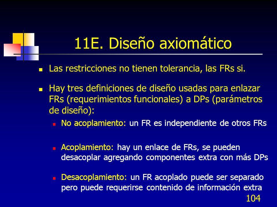 104 11E. Diseño axiomático Las restricciones no tienen tolerancia, las FRs si. Hay tres definiciones de diseño usadas para enlazar FRs (requerimientos