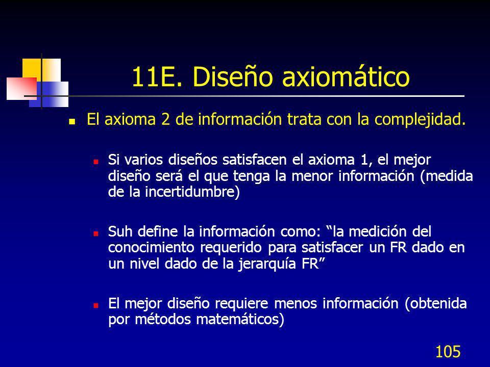 105 11E. Diseño axiomático El axioma 2 de información trata con la complejidad. Si varios diseños satisfacen el axioma 1, el mejor diseño será el que