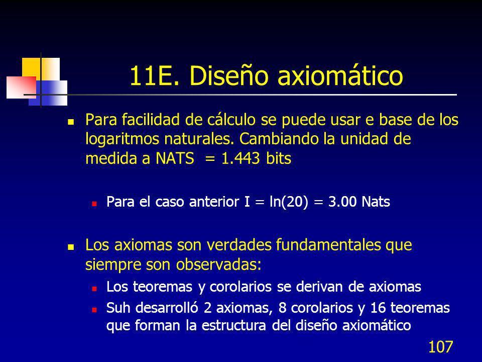 107 11E. Diseño axiomático Para facilidad de cálculo se puede usar e base de los logaritmos naturales. Cambiando la unidad de medida a NATS = 1.443 bi