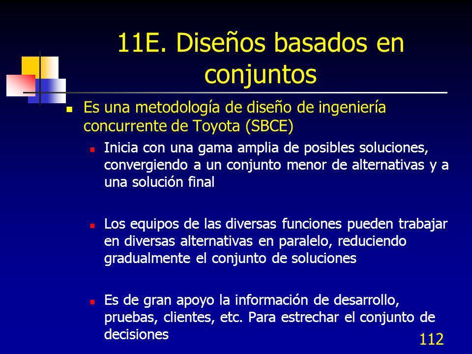 112 11E. Diseños basados en conjuntos Es una metodología de diseño de ingeniería concurrente de Toyota (SBCE) Inicia con una gama amplia de posibles s