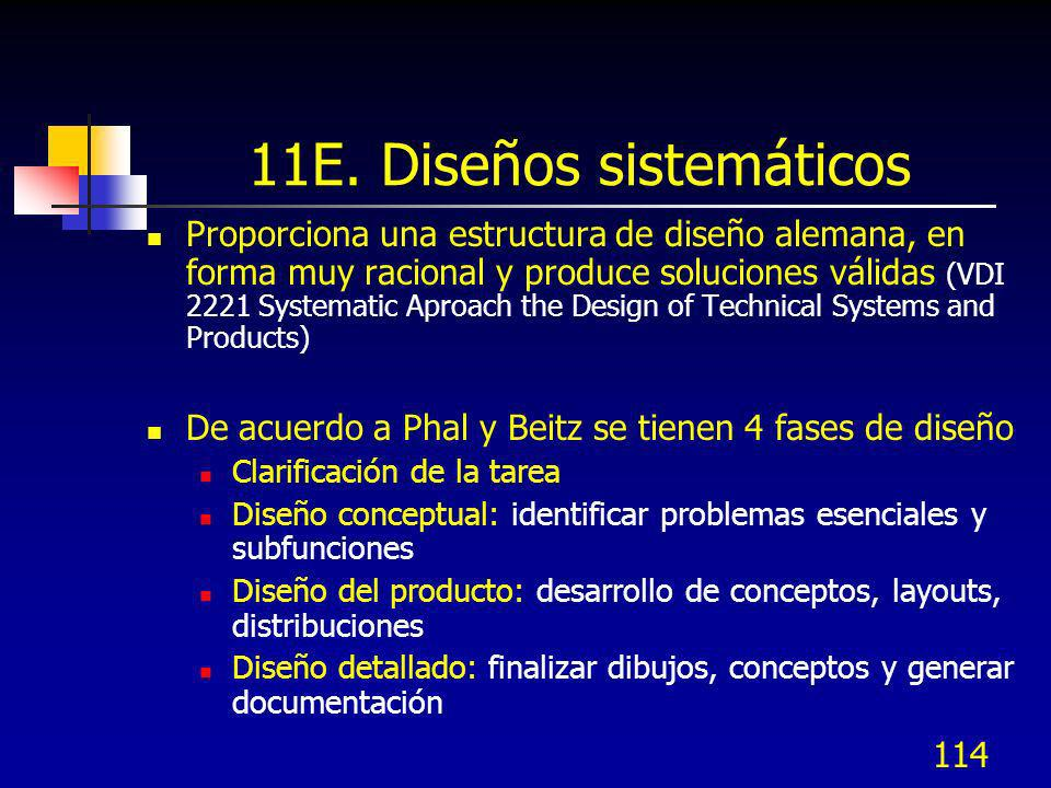 114 11E. Diseños sistemáticos Proporciona una estructura de diseño alemana, en forma muy racional y produce soluciones válidas (VDI 2221 Systematic Ap