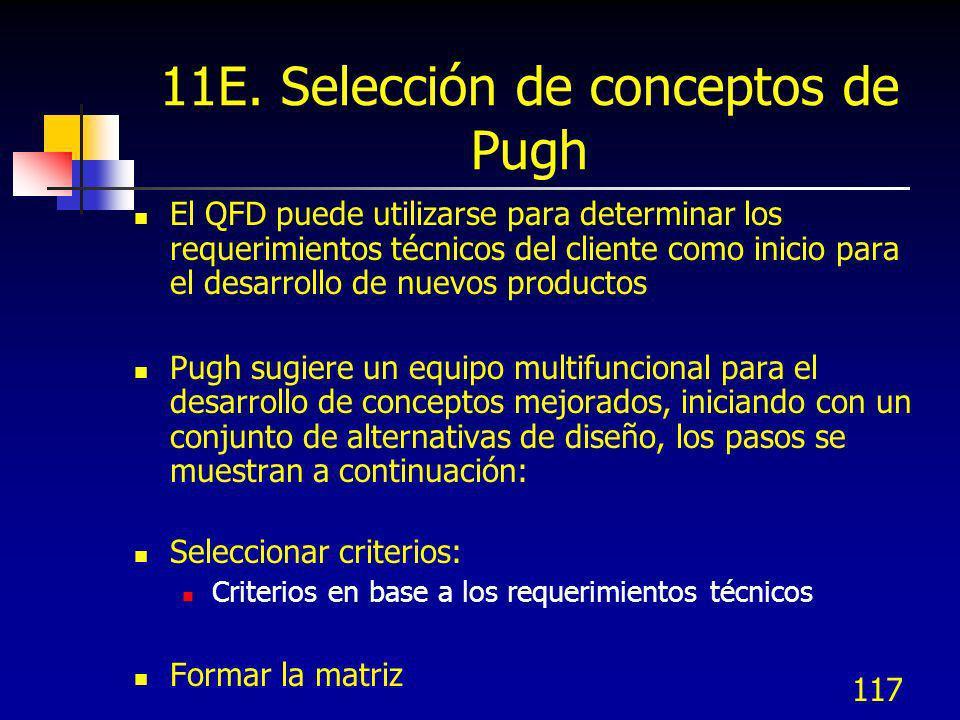 117 11E. Selección de conceptos de Pugh El QFD puede utilizarse para determinar los requerimientos técnicos del cliente como inicio para el desarrollo