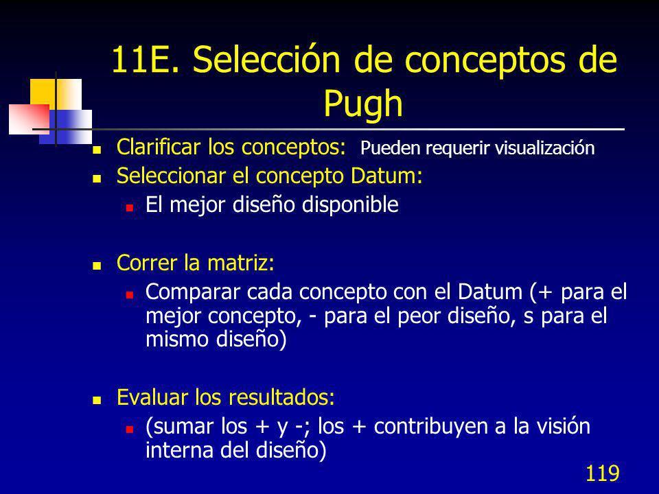 119 11E. Selección de conceptos de Pugh Clarificar los conceptos: Pueden requerir visualización Seleccionar el concepto Datum: El mejor diseño disponi