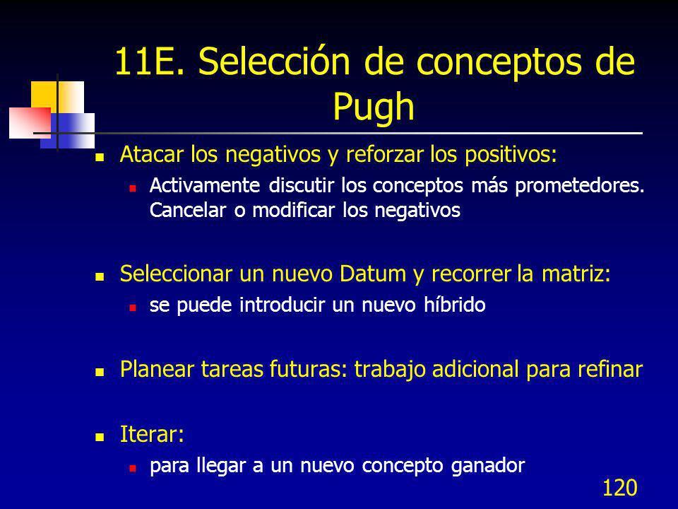 120 11E. Selección de conceptos de Pugh Atacar los negativos y reforzar los positivos: Activamente discutir los conceptos más prometedores. Cancelar o