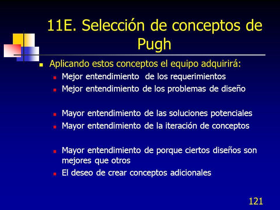 121 11E. Selección de conceptos de Pugh Aplicando estos conceptos el equipo adquirirá: Mejor entendimiento de los requerimientos Mejor entendimiento d