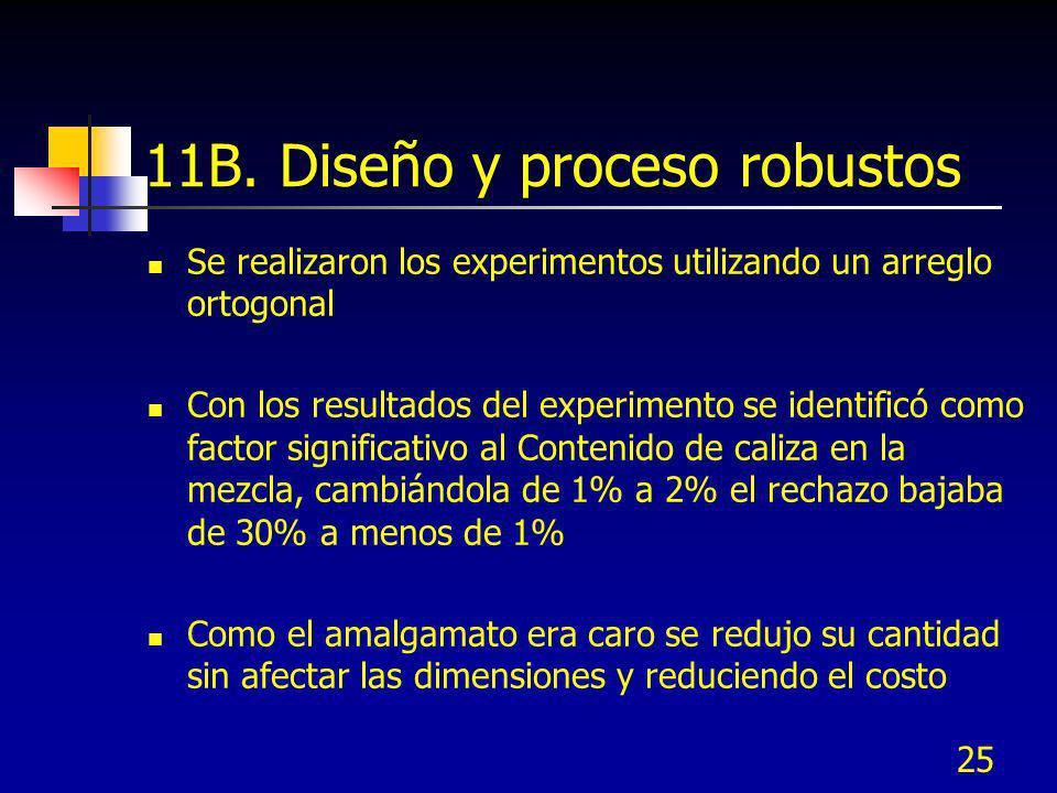 25 11B. Diseño y proceso robustos Se realizaron los experimentos utilizando un arreglo ortogonal Con los resultados del experimento se identificó como