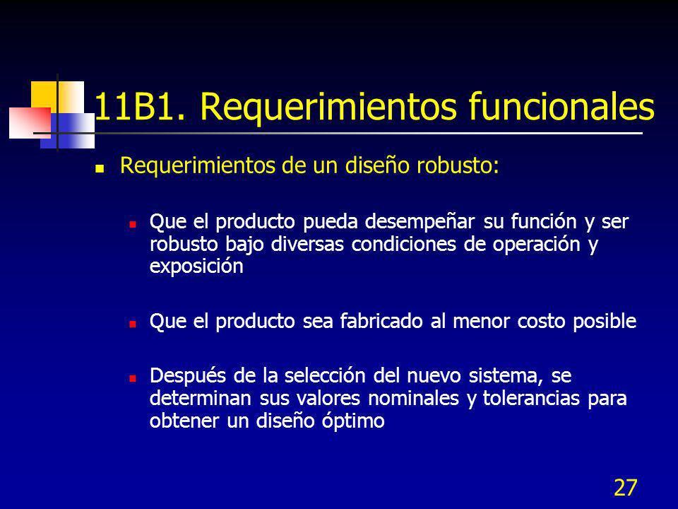 27 11B1. Requerimientos funcionales Requerimientos de un diseño robusto: Que el producto pueda desempeñar su función y ser robusto bajo diversas condi