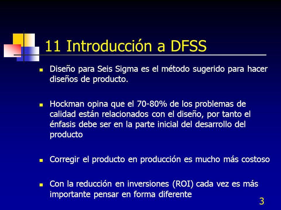 3 11 Introducción a DFSS Diseño para Seis Sigma es el método sugerido para hacer diseños de producto. Hockman opina que el 70-80% de los problemas de