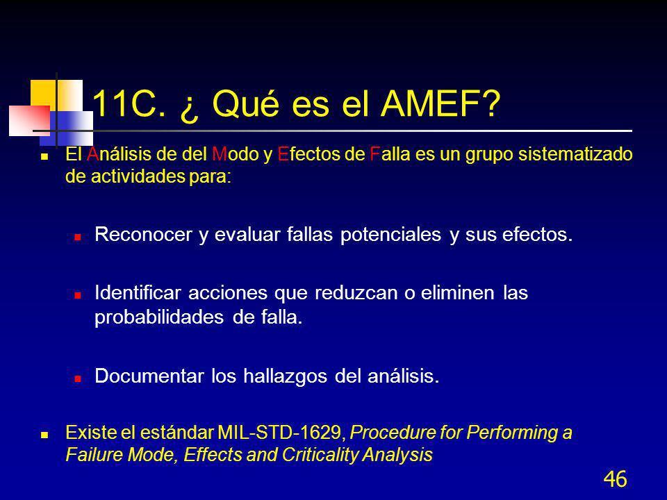 46 11C. ¿ Qué es el AMEF? El Análisis de del Modo y Efectos de Falla es un grupo sistematizado de actividades para: Reconocer y evaluar fallas potenci