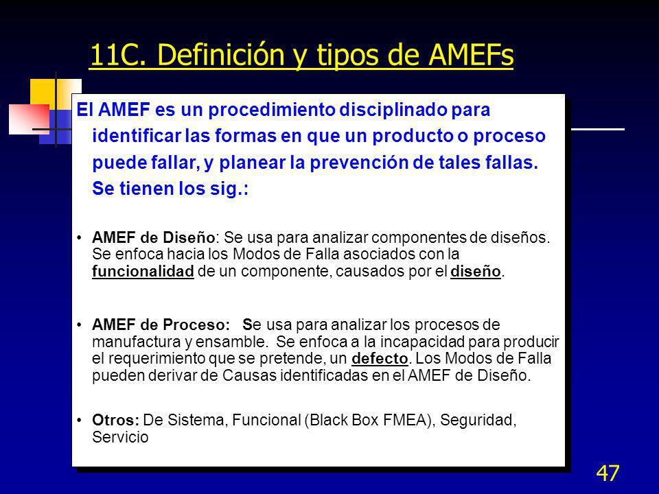 47 11C. Definición y tipos de AMEFs El AMEF es un procedimiento disciplinado para identificar las formas en que un producto o proceso puede fallar, y