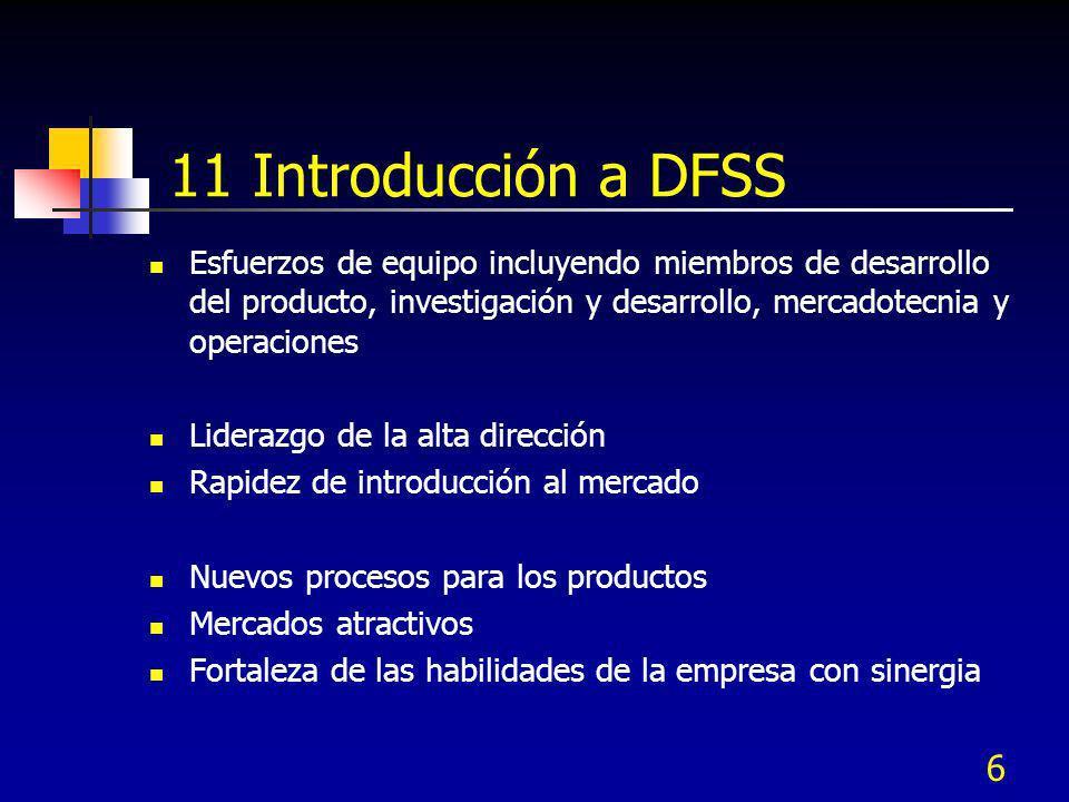 6 11 Introducción a DFSS Esfuerzos de equipo incluyendo miembros de desarrollo del producto, investigación y desarrollo, mercadotecnia y operaciones L