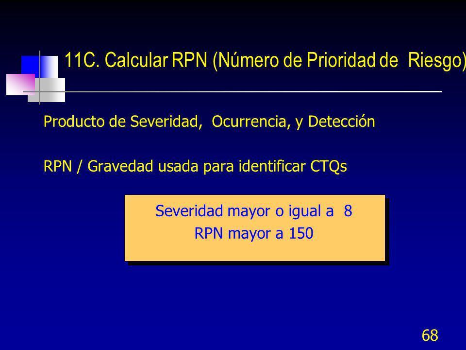 68 Producto de Severidad, Ocurrencia, y Detección RPN / Gravedad usada para identificar CTQs Severidad mayor o igual a 8 RPN mayor a 150 11C. Calcular
