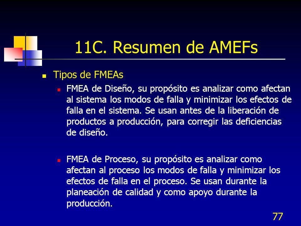 77 11C. Resumen de AMEFs Tipos de FMEAs FMEA de Diseño, su propósito es analizar como afectan al sistema los modos de falla y minimizar los efectos de
