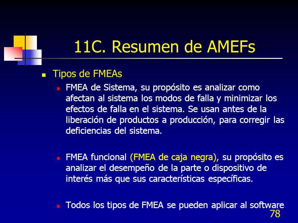 78 11C. Resumen de AMEFs Tipos de FMEAs FMEA de Sistema, su propósito es analizar como afectan al sistema los modos de falla y minimizar los efectos d