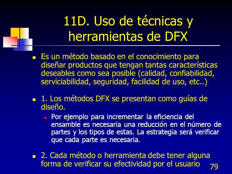 79 11D. Uso de técnicas y herramientas de DFX Es un método basado en el conocimiento para diseñar productos que tengan tantas características deseable