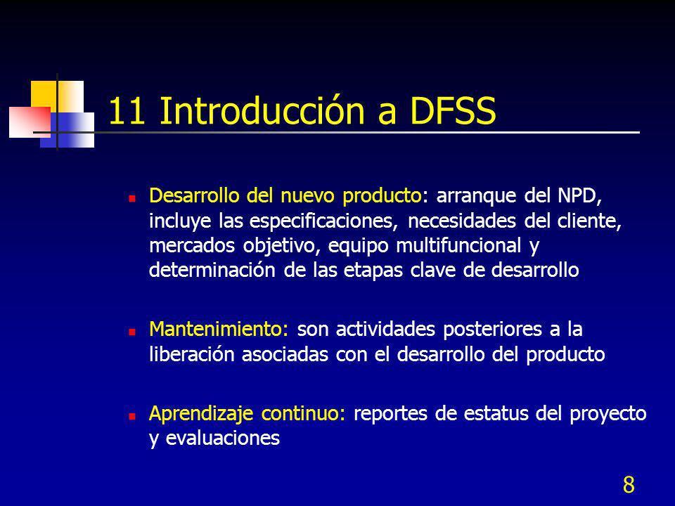 9 11 Introducción a DFSS Clarificación de etapas del proyecto, cada una tiene sus propios requerimientos a ser alcanzados, si no se logran pueden ser cancelados: Etapa: ideas – Pre concepto, idea Etapa: probar que funcione – concepto, eval.