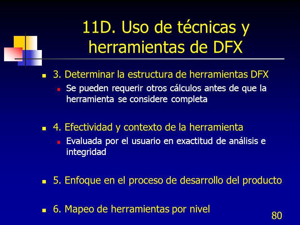 80 11D. Uso de técnicas y herramientas de DFX 3. Determinar la estructura de herramientas DFX Se pueden requerir otros cálculos antes de que la herram