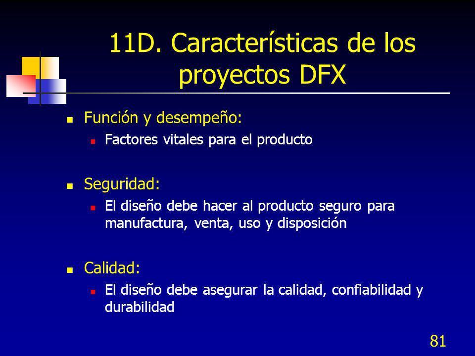 81 11D. Características de los proyectos DFX Función y desempeño: Factores vitales para el producto Seguridad: El diseño debe hacer al producto seguro