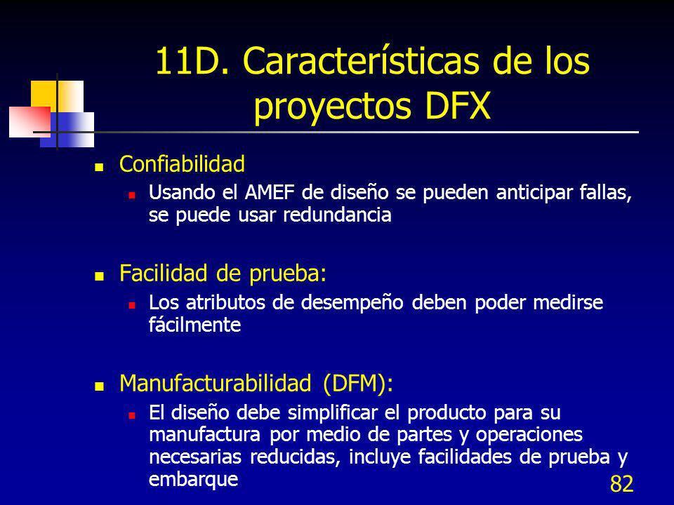 82 11D. Características de los proyectos DFX Confiabilidad Usando el AMEF de diseño se pueden anticipar fallas, se puede usar redundancia Facilidad de