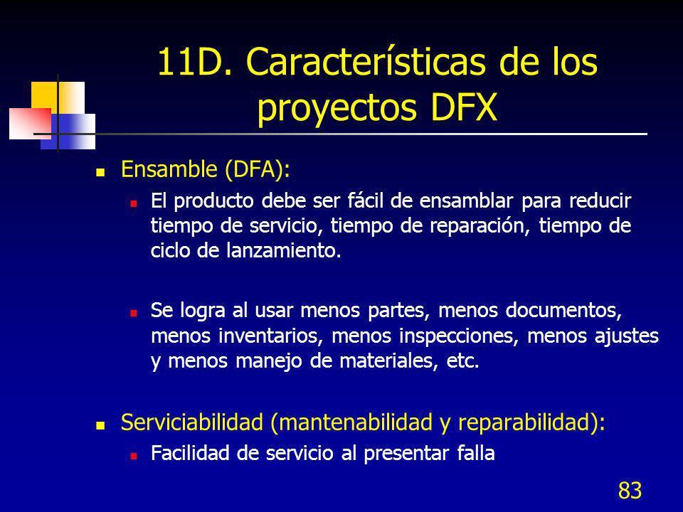 83 11D. Características de los proyectos DFX Ensamble (DFA): El producto debe ser fácil de ensamblar para reducir tiempo de servicio, tiempo de repara