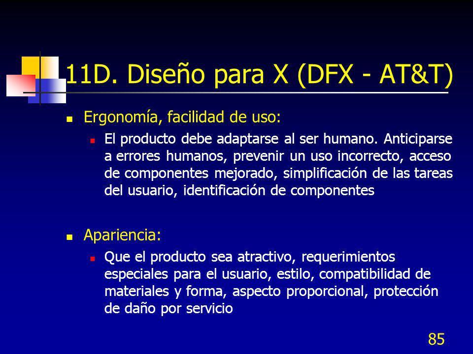 85 11D. Diseño para X (DFX - AT&T) Ergonomía, facilidad de uso: El producto debe adaptarse al ser humano. Anticiparse a errores humanos, prevenir un u
