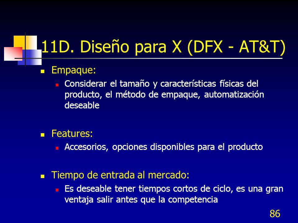 86 11D. Diseño para X (DFX - AT&T) Empaque: Considerar el tamaño y características físicas del producto, el método de empaque, automatización deseable
