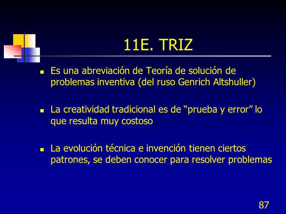 87 11E. TRIZ Es una abreviación de Teoría de solución de problemas inventiva (del ruso Genrich Altshuller) La creatividad tradicional es de prueba y e