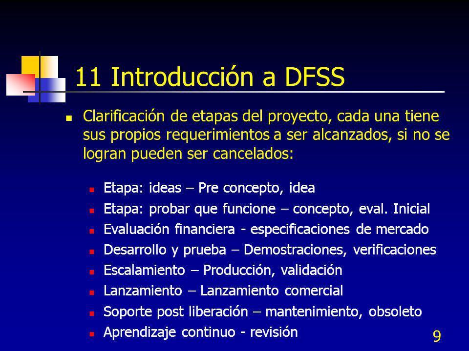 9 11 Introducción a DFSS Clarificación de etapas del proyecto, cada una tiene sus propios requerimientos a ser alcanzados, si no se logran pueden ser