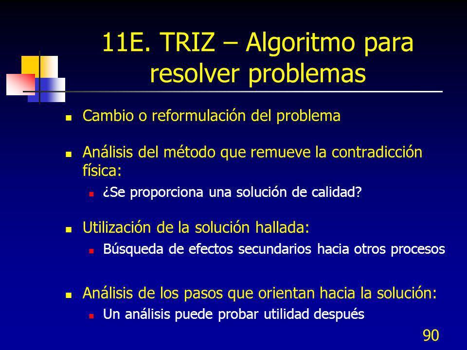 90 11E. TRIZ – Algoritmo para resolver problemas Cambio o reformulación del problema Análisis del método que remueve la contradicción física: ¿Se prop
