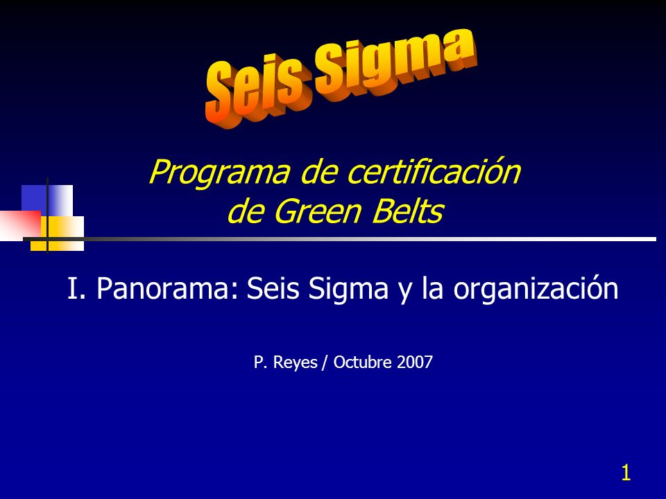 1 Programa de certificación de Green Belts I. Panorama: Seis Sigma y la organización P. Reyes / Octubre 2007