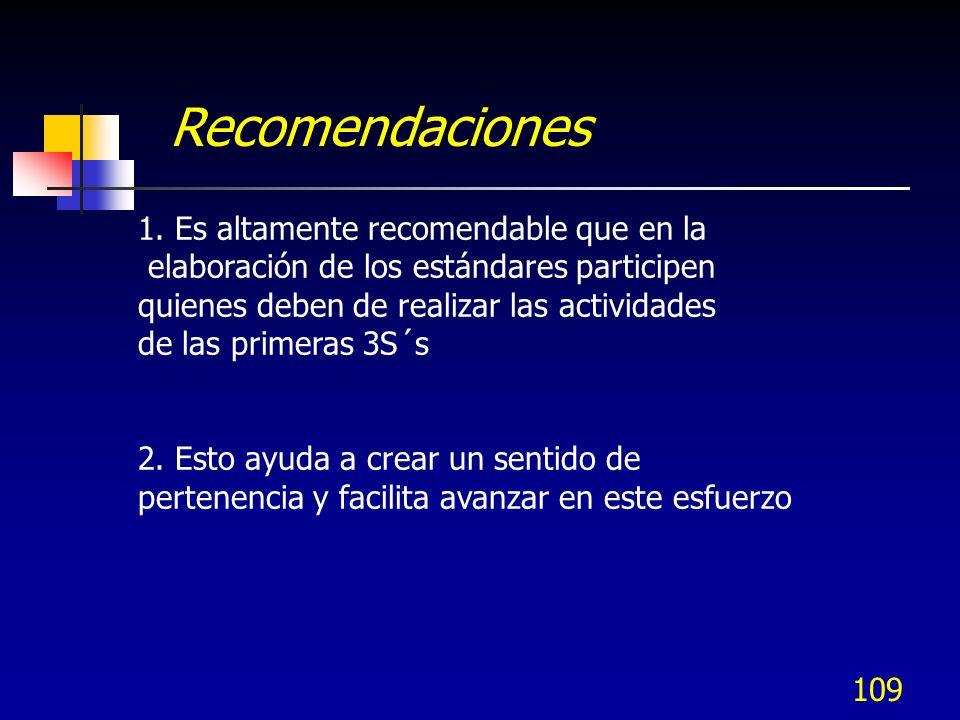 109 1. Es altamente recomendable que en la elaboración de los estándares participen quienes deben de realizar las actividades de las primeras 3S´s 2.