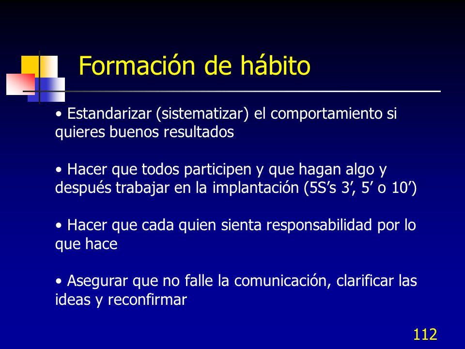 112 Estandarizar (sistematizar) el comportamiento si quieres buenos resultados Hacer que todos participen y que hagan algo y después trabajar en la im