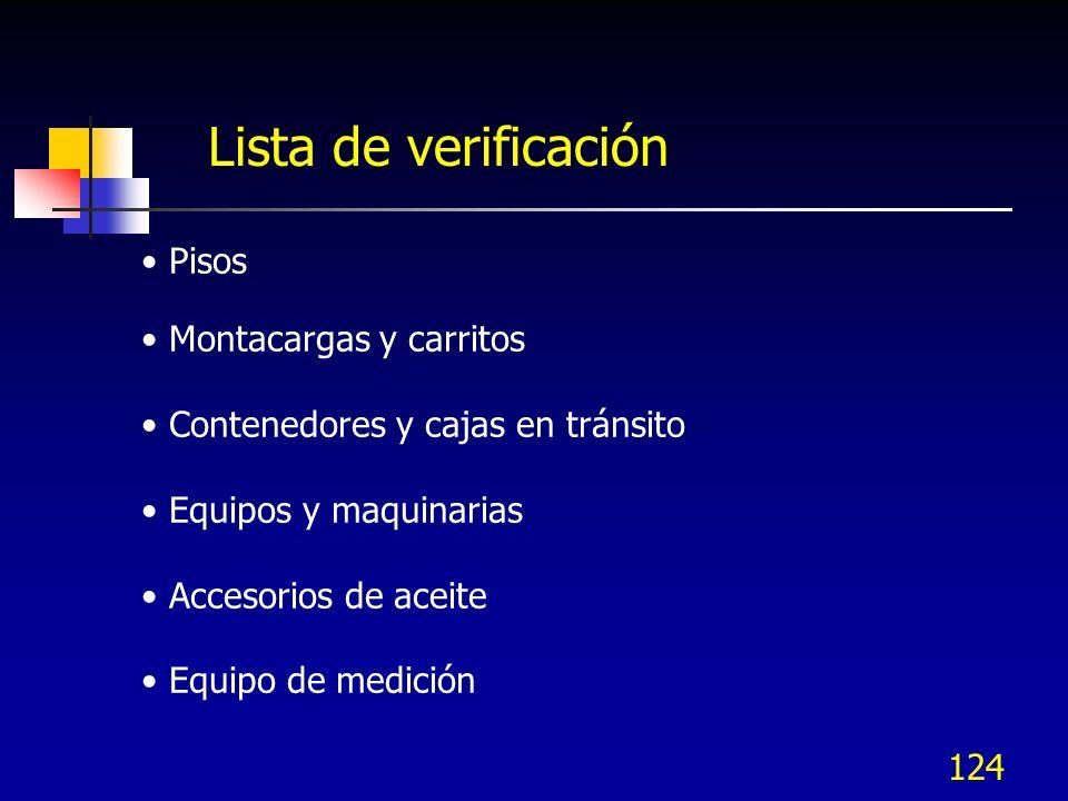124 Pisos Montacargas y carritos Contenedores y cajas en tránsito Equipos y maquinarias Accesorios de aceite Equipo de medición Lista de verificación