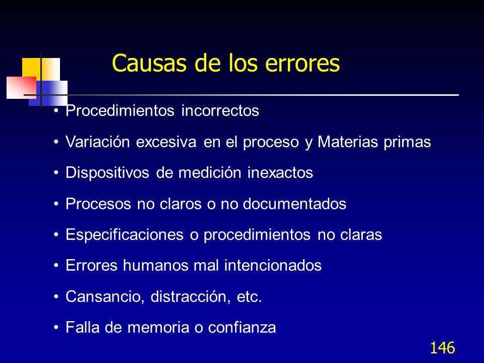 146 Causas de los errores Procedimientos incorrectos Variación excesiva en el proceso y Materias primas Dispositivos de medición inexactos Procesos no