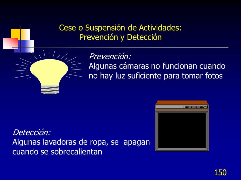 150 Cese o Suspensión de Actividades: Prevención y Detección Prevención: Algunas cámaras no funcionan cuando no hay luz suficiente para tomar fotos De