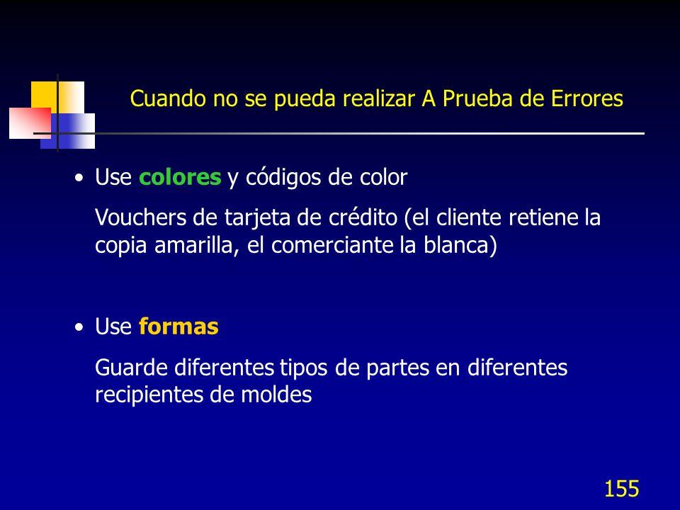 155 Cuando no se pueda realizar A Prueba de Errores Use colores y códigos de color Vouchers de tarjeta de crédito (el cliente retiene la copia amarill