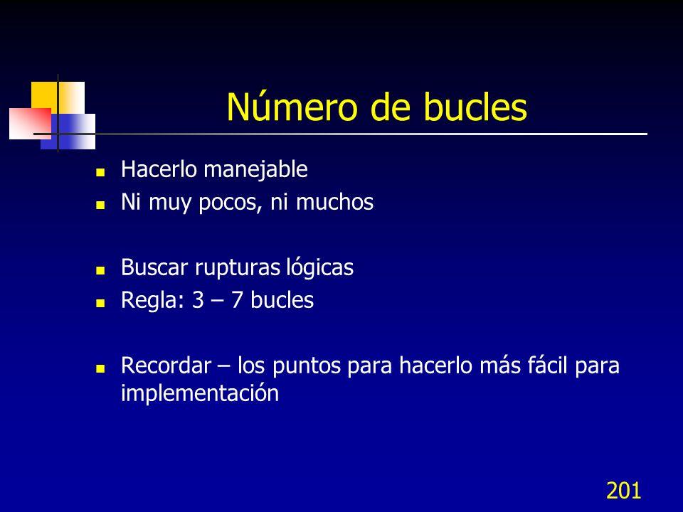 201 Número de bucles Hacerlo manejable Ni muy pocos, ni muchos Buscar rupturas lógicas Regla: 3 – 7 bucles Recordar – los puntos para hacerlo más fáci