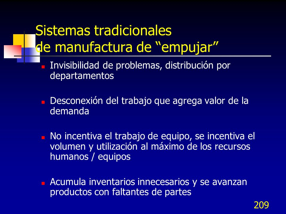 209 Sistemas tradicionales de manufactura de empujar Invisibilidad de problemas, distribución por departamentos Desconexión del trabajo que agrega val