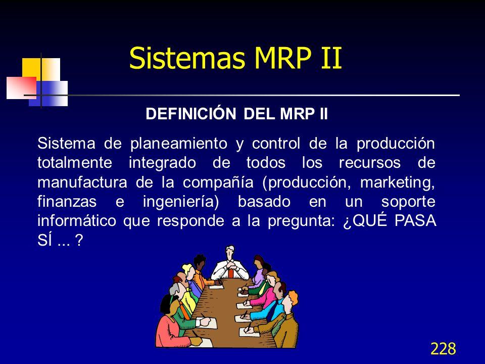 228 Sistemas MRP II DEFINICIÓN DEL MRP II Sistema de planeamiento y control de la producción totalmente integrado de todos los recursos de manufactura