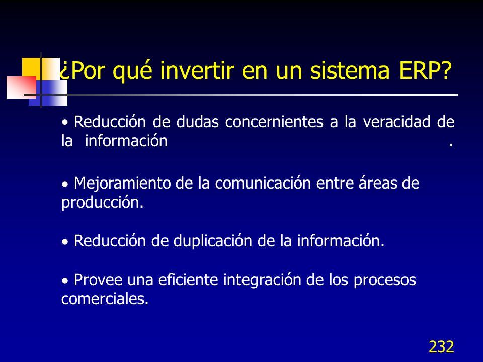 232 ¿Por qué invertir en un sistema ERP? Reducción de dudas concernientes a la veracidad de la información. Mejoramiento de la comunicación entre área