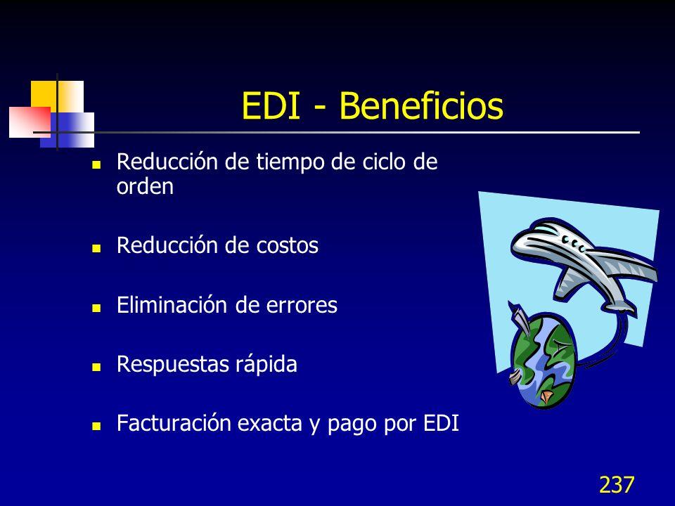 237 EDI - Beneficios Reducción de tiempo de ciclo de orden Reducción de costos Eliminación de errores Respuestas rápida Facturación exacta y pago por